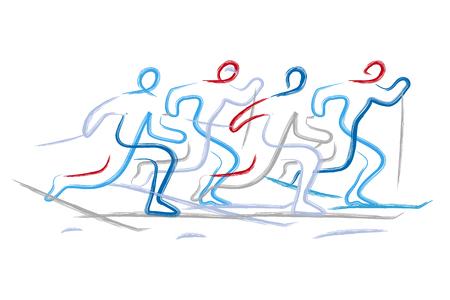 Corsa campestre. Illustrazione di quattro corridori di sci di fondo, linea espressiva stilizzata. Isolato su sfondo bianco. Vettore disponibile. Vettoriali