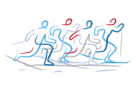 Cross country race. Illustration of four Cross country ski racers, expressive line art stylized. Isolated on white background. Vector available.