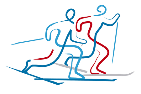 Cross country skiers. Illustration of two Cross country ski racers, expressive line art stylized. Isolated on white background. Vector available.