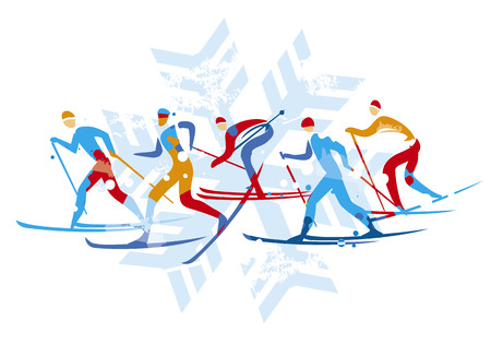 Cross country Ski Race, grunge stylized. Illustration of five Cross country Ski Racers on grunge background.Isolated on brush stroke. Vector available. Vettoriali