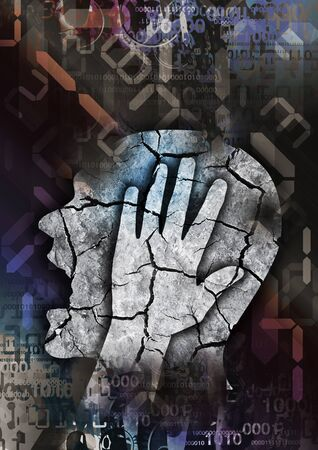 Madness, Headache, Digital Dementia, male head. Male silhouette with cracked head symbolizing madness, Depression, Headache on digial numbers background. Man holding his head.
