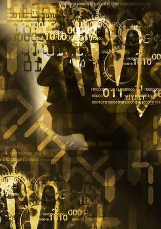 Burn out syndrome,Stress Overworked man Stylized male head silhouette holding his head, with binary codes, digital numbers and gear. Concept of digital age. Imagens