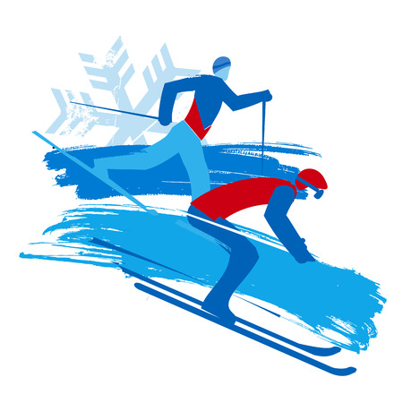 Downhill skier and cross-country skier, grunge stylized. Stylized Illustration of two skiers. Isolated on white background. Vector available.