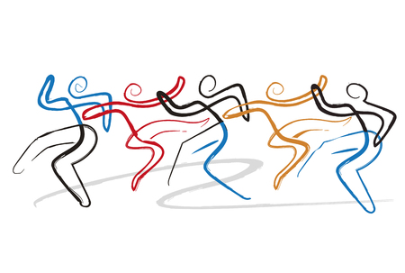 Dancing group, disco, modern dance. Expressive, stylized illustrations of dancing people. Ink drawing Imitation . Isolated on white background. Vector available.
