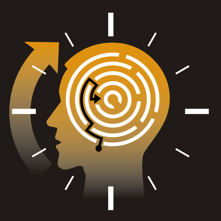 Deadline, stressed man, concept. Illustration of Stylized male head silhouette with maze. Vector available.