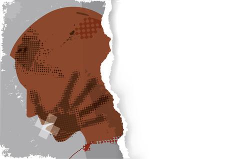 Hombre víctima de violencia, plantilla de banner de papel rasgado. Silueta de grunge de cabeza de hombre joven con impresión de mano después de una bofetada y la boca envuelta con cinta adhesiva. Lugar para su texto o imagen. Vector disponible. Ilustración de vector