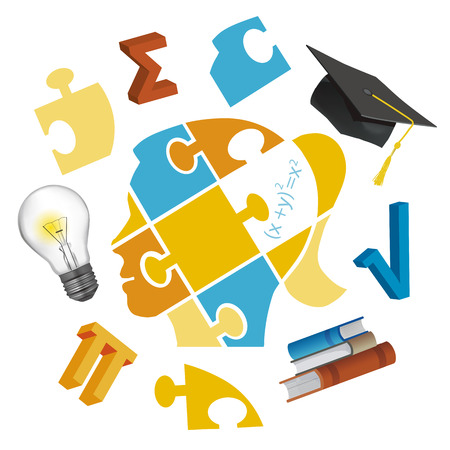 Girl mathematics student, puzzle concept. Stylized head of young girl with Puzzle and math symbols, graduation cap and bulb.  Isolated on white background. Vector available. Ilustração