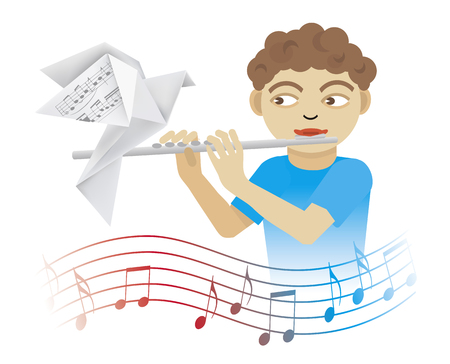 Little boy playing on the flute. Illustration of boy playing flute with origami pigeon and wave with musical notes. Isolated on white background. Vector available.