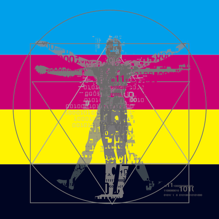 Vitruvian man with binary codes on CMYK color stripes background. Futuristic expressive Illustration of vitruvian man with a binary codes symbolized digital age. Concept graphic design and color print.Vector available.