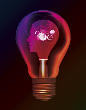 Man idea Creativity intelligence bulb concept.  Illustration of light bulb with Stylized male head and gear. Vector available. Ilustração