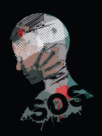 SOS Violence war, young man. Male head silhouette with hand print on the face and head injury symbolizing violence and war. Vector available.