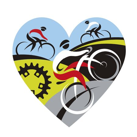 We love cycling,heart symbol. Illustration of heart shape with three cyclists.Vector available.