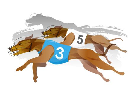 Greyhound Dog Track Racing. Stylized illustration of a greyhound dogs racing. Isolated on white background. Vector available.