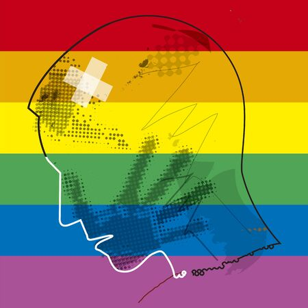 Young man homosexual, victim of violence. Young man grunge profil silhouette with hand print on the face on gay flag background. Vector available.