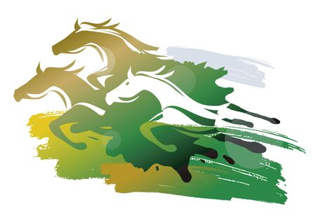 Wild Horses Running on a Meadow. Stylized colorful illustration of three runnig horses. Vector available. Vettoriali