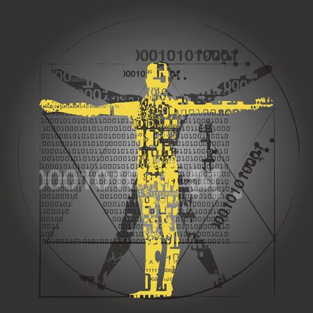 Vitruvian man of computer age.  A grunge stylized yellow silhouette of vitruvian man with a binary codes symbolized digital age. Vector available.