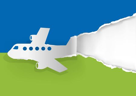 Airplane ripping paper background.  Illustration of paper Airplane silhouette ripping paper. Place for your text or image.Vector available.