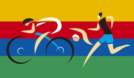 Three Triathlon competitors.  Illustration of Three triathlon athletes on the colorful stripes background. Vector available.