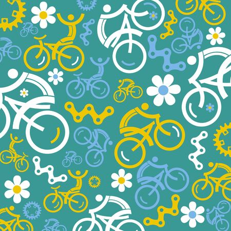 Cycling decorative funny background. Colorful Illustration with colorful cycling symbols.Vector available.