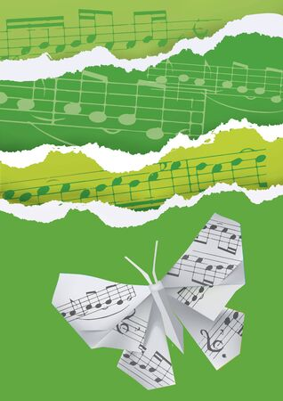Origami butterfly on green background with musical notes.  Illustration of green ripped paper background with origami butterfly and musical notes. Vector available.