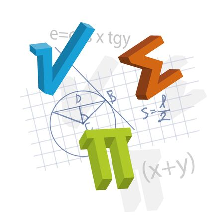 Mathematical formulas and symbols, dynamic composition. Illustration of Mathematical symbols. Isolated on white background. Vector available.