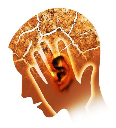 Man with cracked ear and head, symbolizing tinnitus and ear problems. Male head stylized profile. Photomontage with dry cracked earth. Concept symbolizing tinnitus, depression.Isolated.