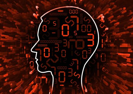 Human Head and stream of red digital numbers. Illustration of stylized male head with red numbers symbolizing business failure.