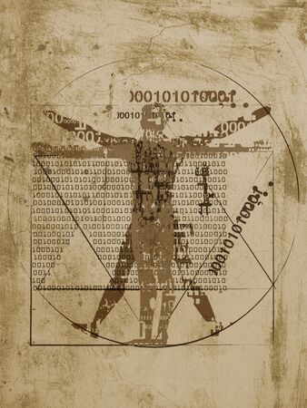 Vitruvian man of digital age. Futuristic Illustration of vitruvian man with a binary codes on brown grunge background.
