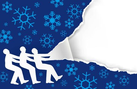 Three men ripping stock photography Blue christmas paper background. Illustration of ripped paper with snow flakes. Place for your text or image. Vector available.