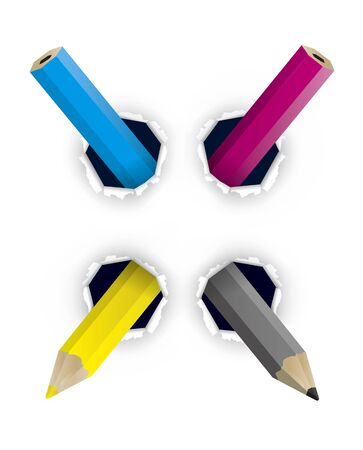 CMYK colors creative pencils, in the shape of X. Holed paper with colorful pencils. Concept for creative graphic design or color printing. Vector available.