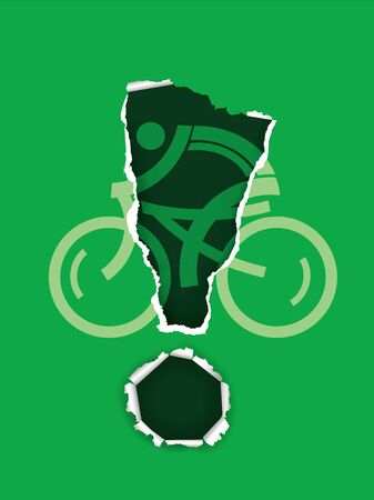 Cycling icon with exclamation mark. Expressive symbol of cyclist on green ripped paper. Vector available.