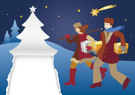Happy Young Couple Carrying Christmas Gifts. Illustration of silent christmas night with village church and young couple. Vector available.