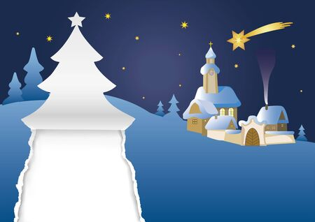 Christmas landscape. Illustration of silent christmas night with village church and torn paper christmas tree in the foreground. Vector available.