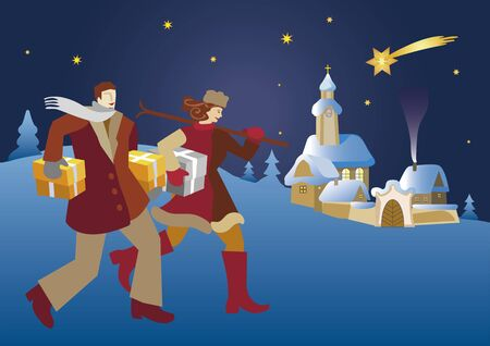Happy young couple with Christmas tree and gifts. Illustration of silent christmas night with village church and young couple. Place for your text. Vector available.