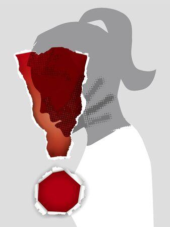 Domestic Violence Against Women. Young woman stylized silhouette profile with hand print after hand slap in ripped paper exclamation mark. Vector available.