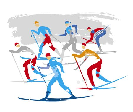 Nordic ski race, cross-country skiers. Cross-country ski competitors expressive stylized drawing. Vector available.
