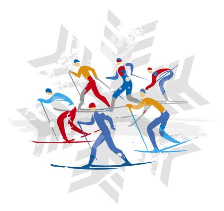 Cross Country Ski Racers on Snowflake Symbol Background. Cross country ski competitors. Isolated on white backgond. Vector available. 일러스트
