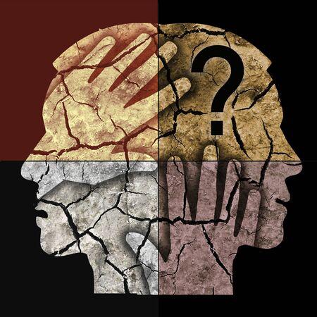 Esquizofrenia, siluetas de cabeza masculina. Hombre con dos caras sosteniendo su cabeza.
