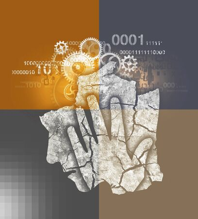 Stressed Man, Burn Out Syndrome. Stylized Male Head Silhouette with Dry Cracked Earth, Gear and Binary Code. Reklamní fotografie