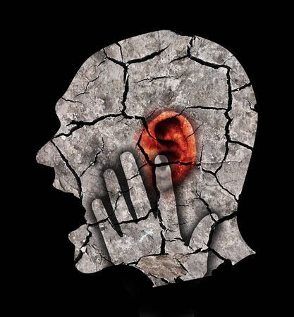 Man with cracked ear and head, symbolizing tinnitus and ear problems. Male head stylized profile. Photomontage with dry cracked earth. Concept symbolizing tinnitus, depression.Isolated on white background.