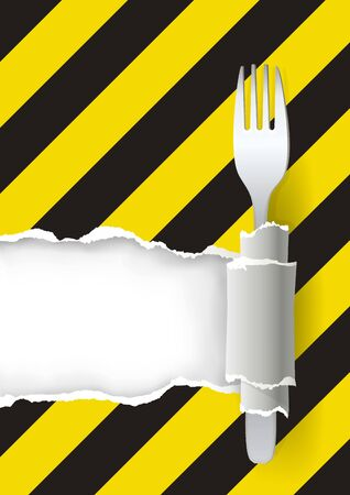 Dangerous Unhealthy Food, Menu Background with Fork. Torn paper background. Place for your text or image. Vector available.