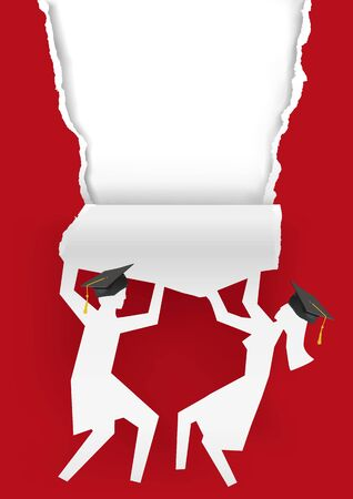 Girl Amd Boy Graduates, Torn Red Paper Background. Illustration of two students paper silhouettes with mortarboard ripped paper. Template for announcement of graduations. Vector available.