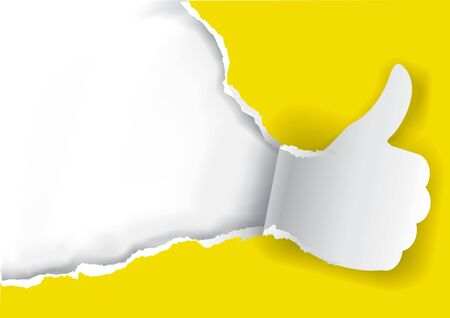 Thumbs up Ripped yellow paper background. Paper background with torn thumbs up. Place for your text or image. Usefull as Advertisement template. Vector available.
