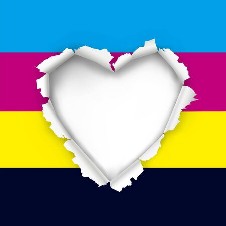 Torn paper heart with CMYK print colors. Illustration of hole in paper in shape of heart. Concept for color printing. Place for your text or image. Vector available. Ilustração