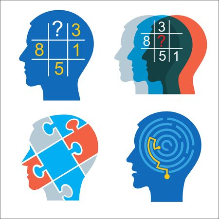 Men heads with sudoku puzzle and maze. Vector Illustration Keywords: Concept for psychological tests. Vector available.