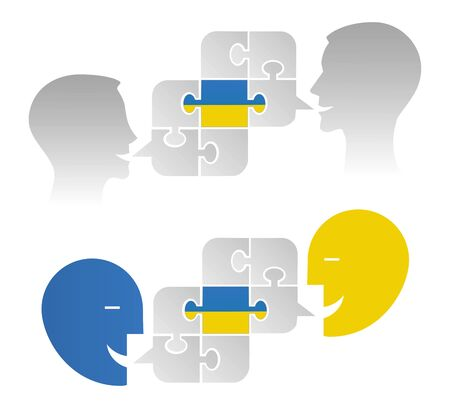 Ukrainian political dialogue, puzzle concept. Two Illustrations Of Two Stylized Male Heads With Puzzle And Ukrainian Flag.Isolated On White Background. Vector available Vectores