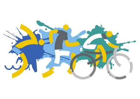 Three Triathlon Racers on Splatters Background. Expressive dynamic drawing Three triathlon athletes on a grunge background. Vector available.