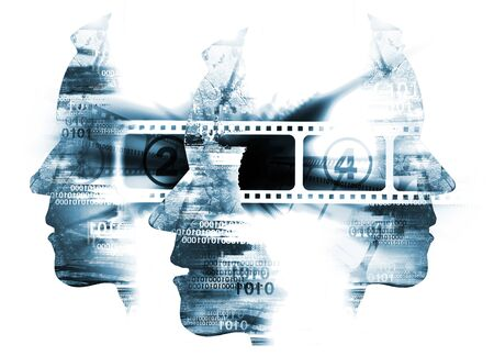 Cinema movie background. Cinema Background with Three Stylized Male Head Silhouetes with Binary Codes and Camera Film. Archivio Fotografico - 138527297