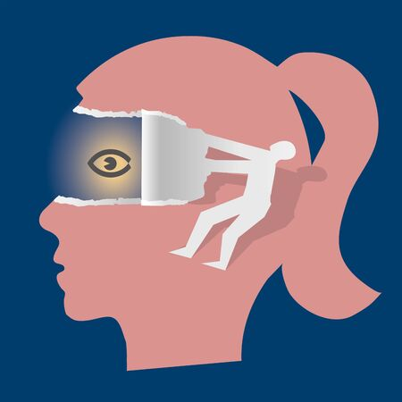 Open Your Eyes, Woman Psychology Concept. Female stylized head in profile and male silhouette ripping paper and uncovering eye. Vector available.