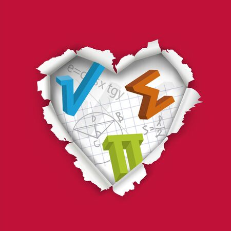 Ilove Math, Mathematics education concept. Illustration of hole in paper in heart shape with mathematics symbols and notes. Vector available.